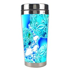 Blue Ice Crystals, Abstract Aqua Azure Cyan Stainless Steel Travel Tumbler by DianeClancy