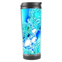 Blue Ice Crystals, Abstract Aqua Azure Cyan Travel Tumbler by DianeClancy