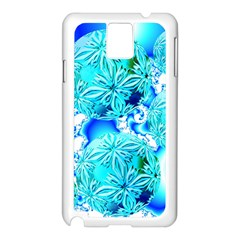 Blue Ice Crystals, Abstract Aqua Azure Cyan Samsung Galaxy Note 3 N9005 Case (white)