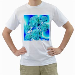 Blue Ice Crystals, Abstract Aqua Azure Cyan Men s T Shirt (white)  by DianeClancy