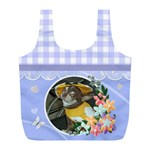 Blue Country Gingham recycle bag (L) - Full Print Recycle Bag (L)