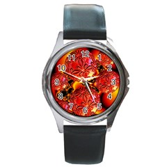 Flame Delights, Abstract Red Orange Round Leather Watch (silver Rim) by DianeClancy
