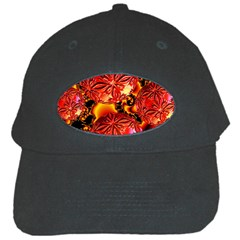 Flame Delights, Abstract Red Orange Black Baseball Cap by DianeClancy