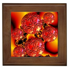 Flame Delights, Abstract Red Orange Framed Ceramic Tile by DianeClancy