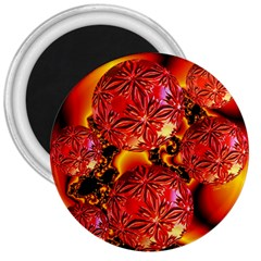 Flame Delights, Abstract Red Orange 3  Button Magnet by DianeClancy