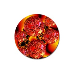 Flame Delights, Abstract Red Orange Magnet 3  (round) by DianeClancy