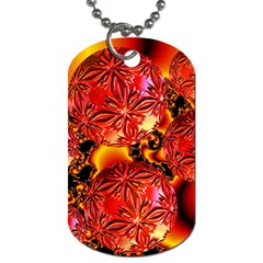 Flame Delights, Abstract Red Orange Dog Tag (two Sided)  by DianeClancy