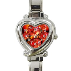 Flame Delights, Abstract Red Orange Heart Italian Charm Watch  by DianeClancy