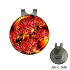 Flame Delights, Abstract Red Orange Hat Clip With Golf Ball Marker by DianeClancy