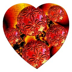 Flame Delights, Abstract Red Orange Jigsaw Puzzle (heart) by DianeClancy