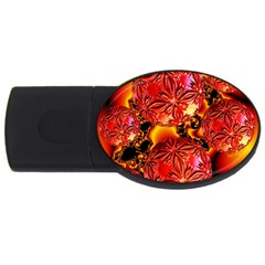 Flame Delights, Abstract Red Orange 4gb Usb Flash Drive (oval) by DianeClancy