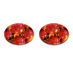 Flame Delights, Abstract Red Orange Cufflinks (oval) by DianeClancy