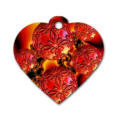 Flame Delights, Abstract Red Orange Dog Tag Heart (one Sided)  by DianeClancy