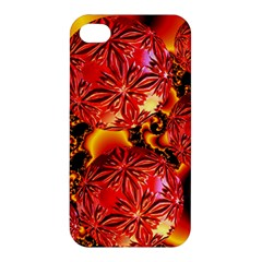Flame Delights, Abstract Red Orange Apple Iphone 4/4s Premium Hardshell Case by DianeClancy