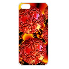 Flame Delights, Abstract Red Orange Apple Iphone 5 Seamless Case (white) by DianeClancy