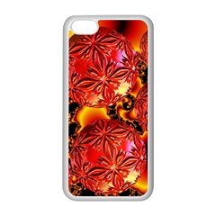 Flame Delights, Abstract Red Orange Apple Iphone 5c Seamless Case (white) by DianeClancy