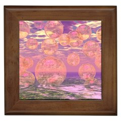 Glorious Skies, Abstract Pink And Yellow Dream Framed Ceramic Tile by DianeClancy
