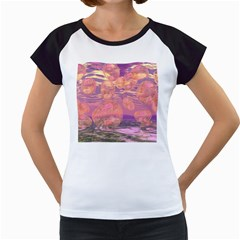 Glorious Skies, Abstract Pink And Yellow Dream Women s Cap Sleeve T Shirt (white) by DianeClancy