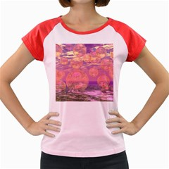 Glorious Skies, Abstract Pink And Yellow Dream Women s Cap Sleeve T Shirt (colored)