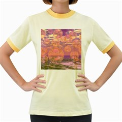 Glorious Skies, Abstract Pink And Yellow Dream Women s Ringer T Shirt (colored) by DianeClancy