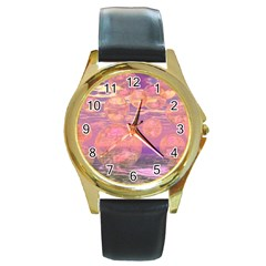 Glorious Skies, Abstract Pink And Yellow Dream Round Leather Watch (gold Rim)  by DianeClancy