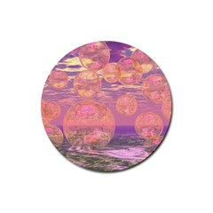 Glorious Skies, Abstract Pink And Yellow Dream Drink Coaster (round) by DianeClancy