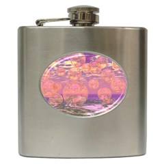 Glorious Skies, Abstract Pink And Yellow Dream Hip Flask by DianeClancy