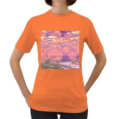 Glorious Skies, Abstract Pink And Yellow Dream Women s T Shirt (colored) by DianeClancy