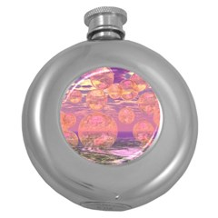 Glorious Skies, Abstract Pink And Yellow Dream Hip Flask (Round)