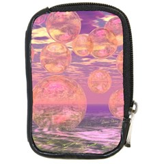 Glorious Skies, Abstract Pink And Yellow Dream Compact Camera Leather Case by DianeClancy
