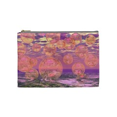 Glorious Skies, Abstract Pink And Yellow Dream Cosmetic Bag (medium) by DianeClancy