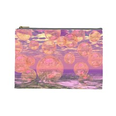 Glorious Skies, Abstract Pink And Yellow Dream Cosmetic Bag (large) by DianeClancy