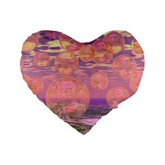 Glorious Skies, Abstract Pink And Yellow Dream 16  Premium Heart Shape Cushion  by DianeClancy