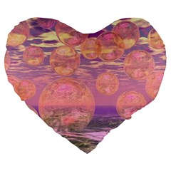 Glorious Skies, Abstract Pink And Yellow Dream 19  Premium Heart Shape Cushion by DianeClancy