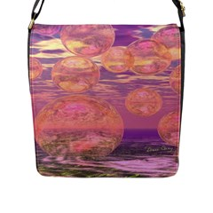 Glorious Skies, Abstract Pink And Yellow Dream Flap Closure Messenger Bag (large) by DianeClancy
