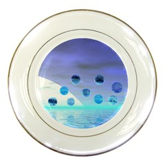 Moonlight Wonder, Abstract Journey To The Unknown Porcelain Display Plate by DianeClancy