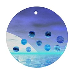 Moonlight Wonder, Abstract Journey To The Unknown Round Ornament (two Sides) by DianeClancy