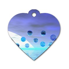 Moonlight Wonder, Abstract Journey To The Unknown Dog Tag Heart (one Sided)  by DianeClancy