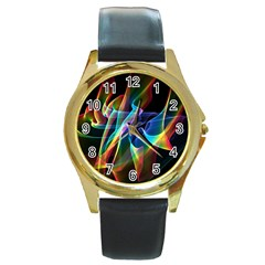 Aurora Ribbons, Abstract Rainbow Veils  Round Leather Watch (gold Rim)  by DianeClancy