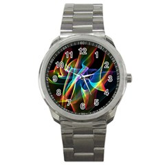 Aurora Ribbons, Abstract Rainbow Veils  Sport Metal Watch by DianeClancy