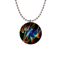 Aurora Ribbons, Abstract Rainbow Veils  Button Necklace by DianeClancy