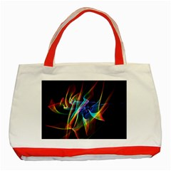 Aurora Ribbons, Abstract Rainbow Veils  Classic Tote Bag (red) by DianeClancy
