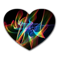 Aurora Ribbons, Abstract Rainbow Veils  Mouse Pad (heart) by DianeClancy