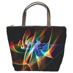 Aurora Ribbons, Abstract Rainbow Veils  Bucket Handbag by DianeClancy