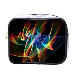 Aurora Ribbons, Abstract Rainbow Veils  Mini Travel Toiletry Bag (one Side) by DianeClancy