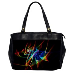 Aurora Ribbons, Abstract Rainbow Veils  Oversize Office Handbag (one Side) by DianeClancy