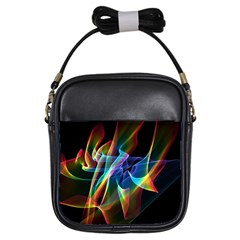 Aurora Ribbons, Abstract Rainbow Veils  Girl s Sling Bag by DianeClancy