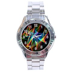 Aurora Ribbons, Abstract Rainbow Veils  Stainless Steel Watch by DianeClancy