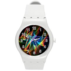 Aurora Ribbons, Abstract Rainbow Veils  Plastic Sport Watch (medium) by DianeClancy
