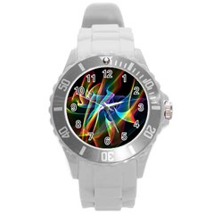 Aurora Ribbons, Abstract Rainbow Veils  Plastic Sport Watch (large) by DianeClancy